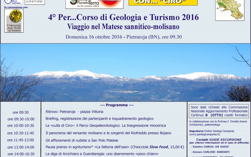 Domenica 16 ottobre 2016 – 4° Per…Corso di Geologia e Turismo -ISCRIZIONI CHIUSE PER IL RAGGIUGIMENTO   DEL LIMITE MASSIMO DEI PARTECIPANTI.