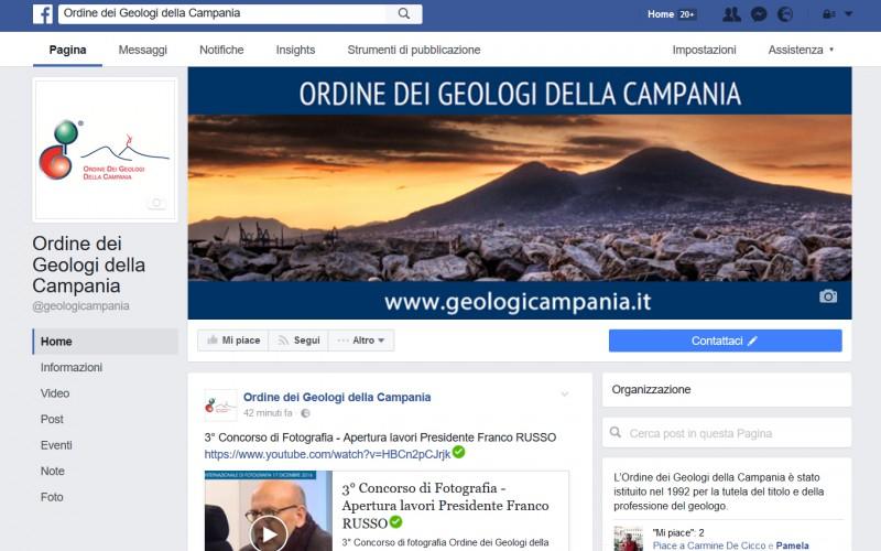 L'Ordine dei Geologi della Campania è su Facebook